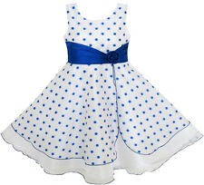 Flower Girl Dress Polka Dot Flower Tulle Party Unique Design Blue Size 4-12