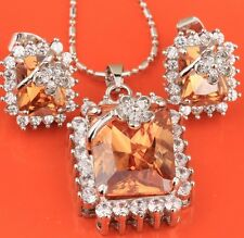 Rectangle Orange Gemstones Morganite Silver Jewelry Set Earrings Pendant B8287