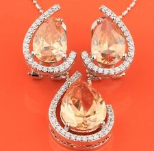 Elegant Orange Gemstones Morganite Silver Jewelry Set Earrings Pendant B8234