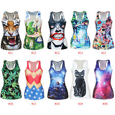 Womens Graphic Printed Tees Blouses  Tops Vest Gothic Tank Hero Batman Joker
