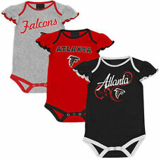 Atlanta Falcons Infant Girl Little Lady 3-Pack Creeper Set - Red/Black/Ash
