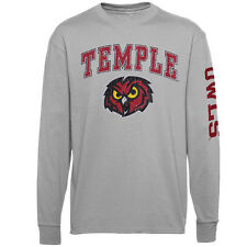 Temple Owls Youth Gray Distressed Arch & Logo Long Sleeve T-Shirt