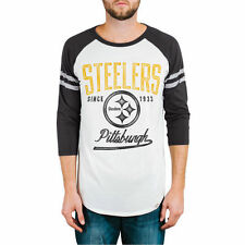 Junk Food Pittsburgh Steelers White/Black All American 3/4 Sleeve Raglan T-Shirt