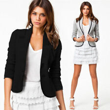 Fashion Womens Long Sleeve Button Casual Blazer Suit Jacket Coat Outwear Tops