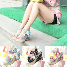 Stylish Lady Bowknot Open Toe Pump Floral High Heel Shoes Wedge Platform Sandals