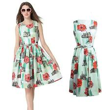 Floral Print Sleeveless Party Mini Dress Womens Pleated Sundres + Belt New V2B4