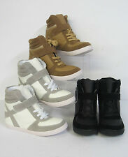 Ladies Hidden Wedge Platform Shoes Hi-Top Boots Black, Tan, White F50088