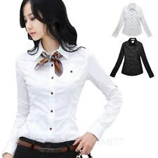 winter Ladies Blouse Womens office Shirt Vintage long sleeve smart Top Size tata