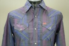 Ely Plains blue black purple striped snaps western shirt 16, 18 New without tag
