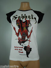 SABBAT Splattered Evil Blood White GIRLIE Shirt Black Cap Sleeves R.I.P. Records