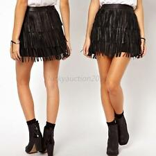 Sexy Women Ladies Faux Leather Fringe Cover High Waist Mini Dance Tassel Skirt