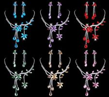 Unique Flower Leaf Theme Rhinestone Crystal Necklace Drop Earrings Jewelry Set