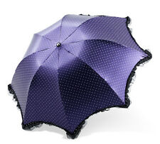 NEW Ladies Compact Lace Trim Compact Umbrella UV protection Polka Dot Parasol
