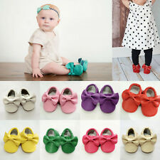 Hot Soild Baby Infant Toddler Soft Sole Non-Slip Bow Tassel Faux Leather Shoes