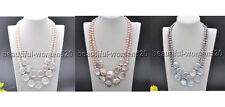 X0208 2Strds 22mm Round Coin Freshwater Pearl Necklace 20inch