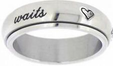 True Love Waits (Cursive) w/Hearts Stainless Steel Style 389 Spin Ring Size 4-10