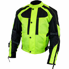 Xelement Momentum Men's Blk/Neon Grn Tri-Tex Armored Motorcycle Jacket XS-3000