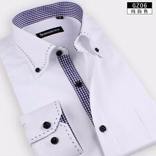 Mens Solid/Plaid Long Sleeve Lapel Non-iron Business Casual Dress Shirt 37-44