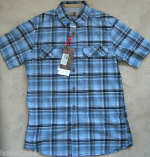M&S Blue Check Cotton casual summer short sleeve shirt (NEW) £25.00-Small