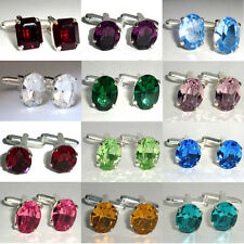Birthstone Vintage Crystal Wedding Unisex Cufflinks made with SWAROVSKI ELEMENTS