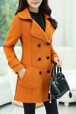 Women Fashion Long Jacket Peacoat Wool Parkas Double Breasted Trench Winter Coat