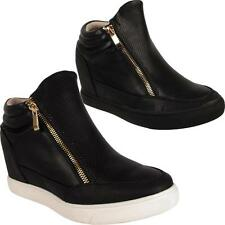 New Ladies Womens Girls Hi Top Zip Up Ankle Boots Wedge Trainers Shoes Sizes Uk