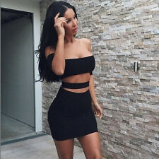 Sexy Women Clubwear Strapless Short Tops Tight Mini Skirt 2PCS Set Bodycon Dress