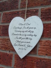 shabby n  chic wedding heart favours-parents  bride & groom gift personalised