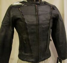 Womens Full Length Zip Vents Leather Motorcycle Biker Jacket Z/O lining CLOSEOUT