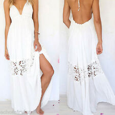 1 Pc Sexy Ladies Boho Maxi White Dress Halter Backless Lace Crochet Long Dress