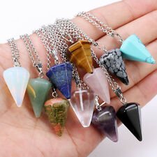 Natural Crystal Healing Gemstone Chakra Silver Stone Pendant Necklace Bead CHI