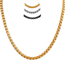 """5MM Silver/Gold/Black Mens Boys 316L Stainless Steel Box Chain Necklace 16""""-38"""""""