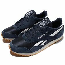 Reebok Paris Runner Navy Suede White Mens Retro Running Shoes V67610