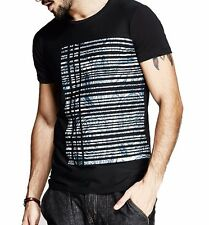 Popular Mens Round Neck Short Sleeve Printing Plaids T-Shirt M L XL 2XL Black