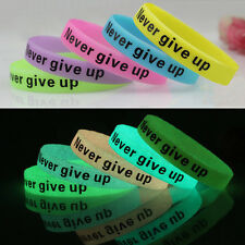 1Pc Glow In Dark Silicone Rubber Elasticity Sport Wristband Cuff Bracelet Bangle