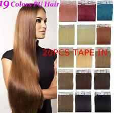 16inch 20pcs/30g Straight 100% Remy Human Hair Extensions PU Tape in hair piece