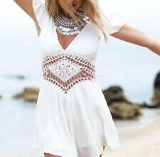 Hot Women Ladies White Playsuit Summer Party Beach Jumpsuits Rompers Shorts