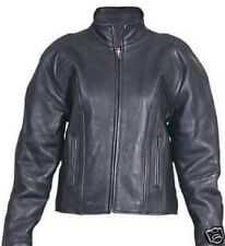 Womens Premium Naked Black Leather Motorcycle biker or scooter Jacket sizes $229