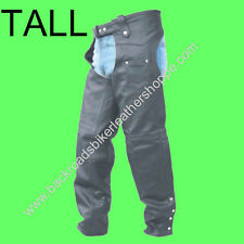 Mens Women Ladies Leather Motorcycle Biker Chaps Tall