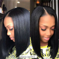 Silky Straight Lace Front Bob Wig Virgin Indian Remy  Human Hair Full Lace Wigs