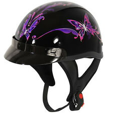 Outlaw Purple Butterfly Glossy Motorcycle Half Helmet XS-LARGE T-70