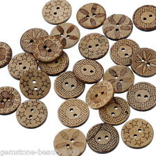 GB Wholesale  Mixed Pattern Coconut Shell 2Holes Sewing Buttons 18mm