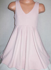 GIRLS PASTEL PINK BOW TRIM BABYDOLL SPECIAL OCCASION FLARED SKATER PARTY DRESS