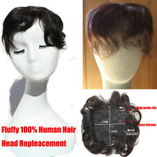 New 30g Curly Human Hair Seamless Fluffy hair Replacement TOP Piece Mom Hair