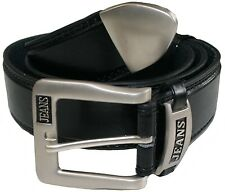 Carabou Mens Bonded Leather Belt With Silver Buckle