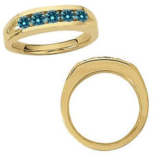 0.5 Carat Blue Diamond Designer Mans Wedding Channel Band Ring 14K Yellow Gold