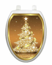 Golden Christmas Toilet Tattoo  Removable Reusable Bathroom Christmas Decoration