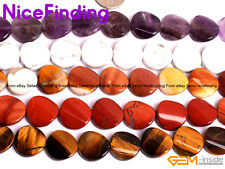 """Wholesale Natural Twisted Flat Coin Stone Beads For Jewelry Making 16mm 15"""" DIY"""
