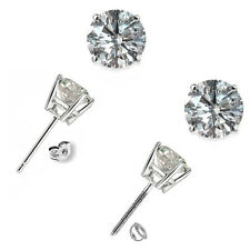 0.50 Carat G-H SI1 Round Diamond Basket Men's Single Stud Earring 14K White Gold