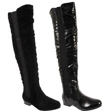 Ladies Womens Elastic Winter Biker Black Over The Knee High Boots Shoes Sizes Uk